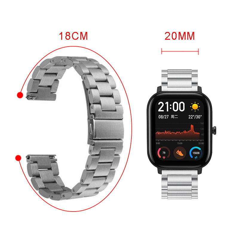 Classic Three-beads Stainless Steel Strap Metal Watch Band for Amazfit GTS