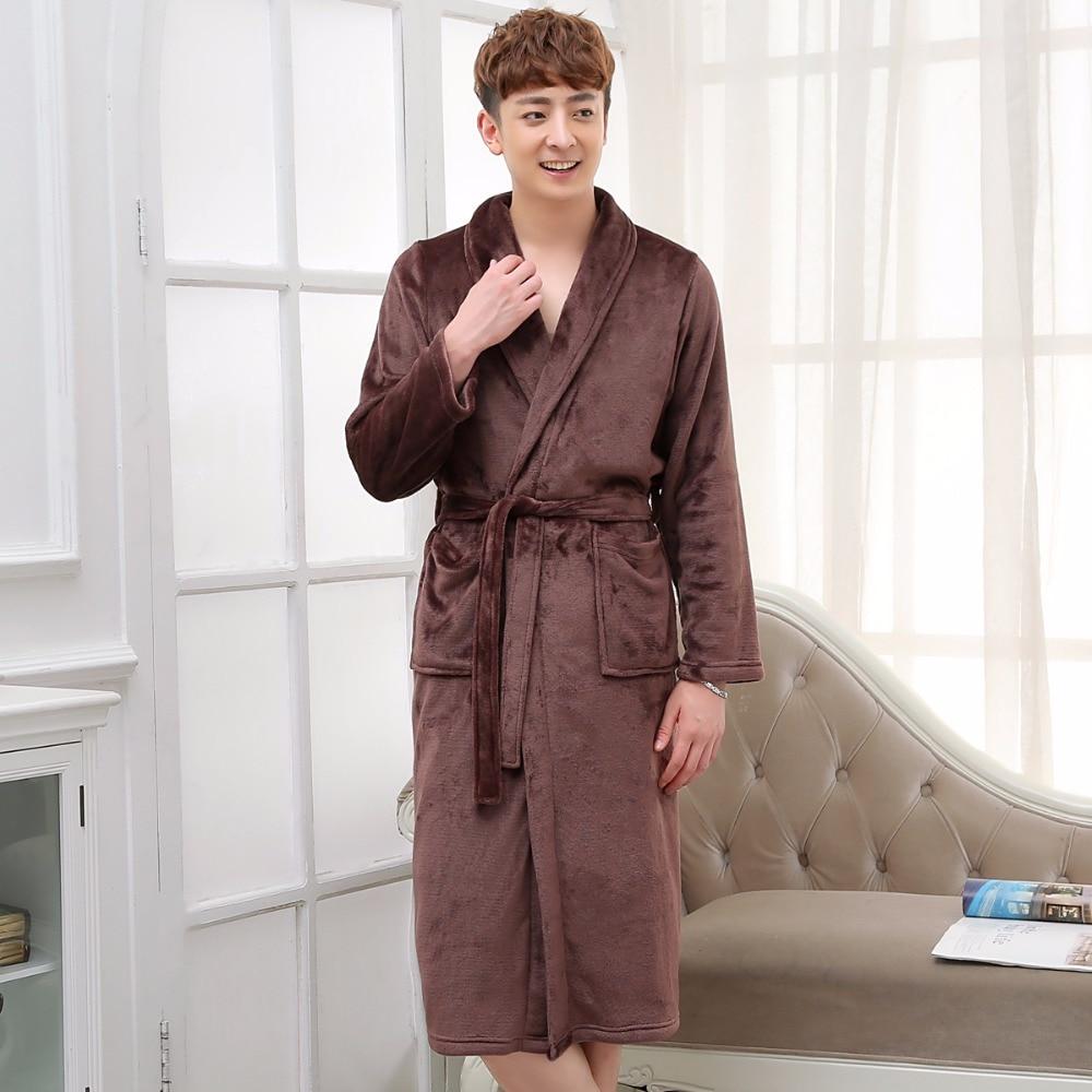 Men Women Long Silk Flannel Bath Robe Badjas Peignoir Homme Winter Coral Fleece Sleepwear Mens Kimono Bathrobe Dressing Gown