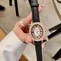 Женские овальные часы  женские кварцевые часы из розового золота  настоящая кожа  стразы  бриллианты  наручные часы для девушек  женские час...
