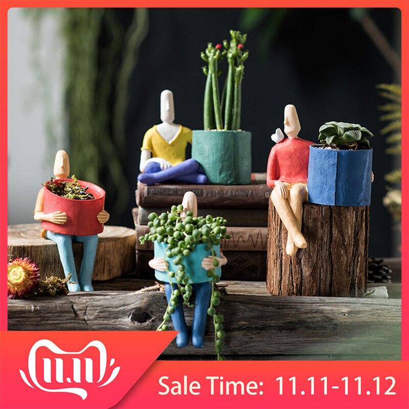 Cartoon Character Ceramic Flower Pot Succulents Abstract Human Face Flower Pot Home Desktop Vase Micro Landscape Decoration