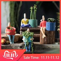 Personagem dos desenhos animados cerâmica vaso de flores suculentas abstrato rosto humano vaso de flores casa mesa micro paisagem decoração