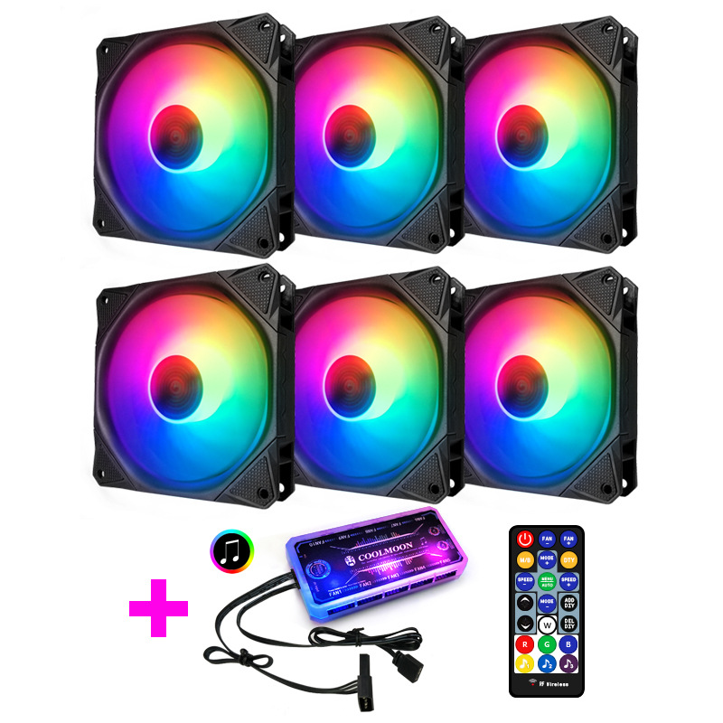 5V RGB Fan 12cm For Computer Case / Normal or Music Control Support MOBO 5V AURA SYNC Light Rhythm Style
