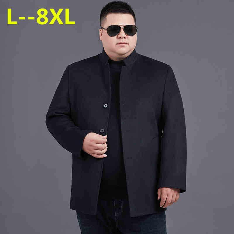 8XL 6XL 5XL 가을 겨울 남성 모직 코트 만다린 칼라 비즈니스 자켓 남성 솔리드 컬러 Thicken Warm Wool & blends Overcoat