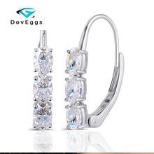 DovEggs 14K White Gold 3.6CTW 4x6mm Oval DEF/GH Color Moissanite Earrings Hoop for Women Jewelry