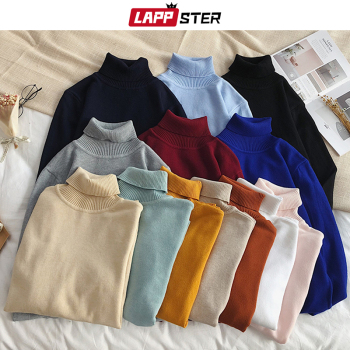 LAPPSTER Men Korean Solid Turtleneck Slim Sweater 2020 Winter Sweater Couple Pullover Christmas Sweater Colorful Womens Clothing