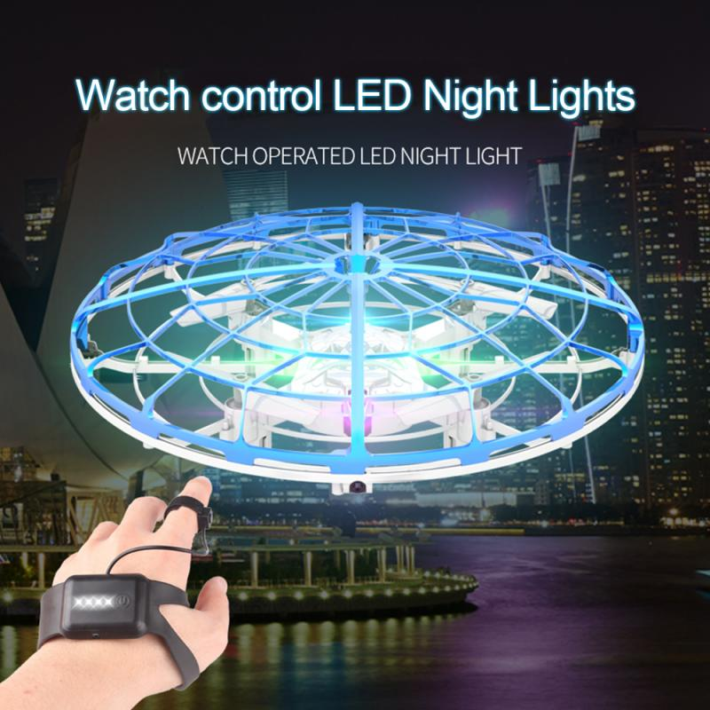 Novelty Lighting UFO Drone Aircraft Anti-Collision Infrared Watch RC Smart Induction Drone Toy LED Night Light Christmas Decor