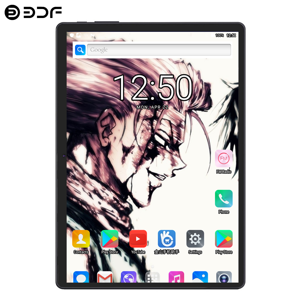 BDF New Original 10 Inch Tablet Pc Octa Core 4G Phone Call Google Market WiFi FM Bluetooth 10.1 Tablets 4GB+64GB Android 7.0 Tab
