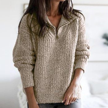 Zipper Half Sweater Women Solid Slim Autumn Winter Thick Clothes 2020 Sueter Mujer Basic Fashion Pul