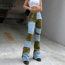 Weekeep Streetwear Della Nappa Della Rappezzatura Dei Jeans A Vita Alta Sottile Delle Donne Casual Moda Pantaloni Diritti 90s Vintage Denim Dei Pantaloni Capris