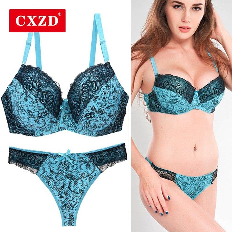 CXZD Sexy Lace Push Up Bra Set Lingerie Women Underwear Sets Intimates Embroidery Brassiere Floral Big Size Bralette Brief Sets