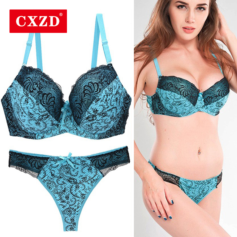 CXZD <font><b>Sexy</b></font> Lace Push Up Bra Set <font><b>Lingerie</b></font> Women <font><b>Underwear</b></font> Sets <font><b>Intimates</b></font> Embroidery brassiere Floral Big Size <font><b>bralette</b></font> Brief Sets image