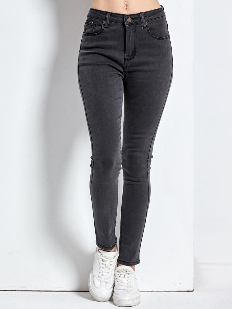 Mom Jeans Denim Pants Black Plus-Size Femme Women's Woman Pencil Mujer High Skinny Damskie