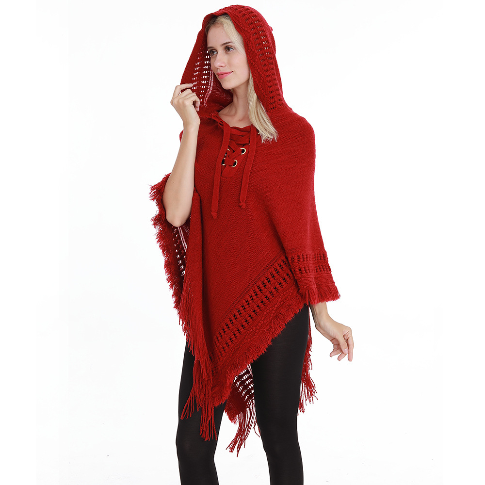 Autumn Winter Black Grey Red Poncho Scarf New Casual Hooded Versatile Cape Loose Size Shawl Knitted Pullover Foulard Femme
