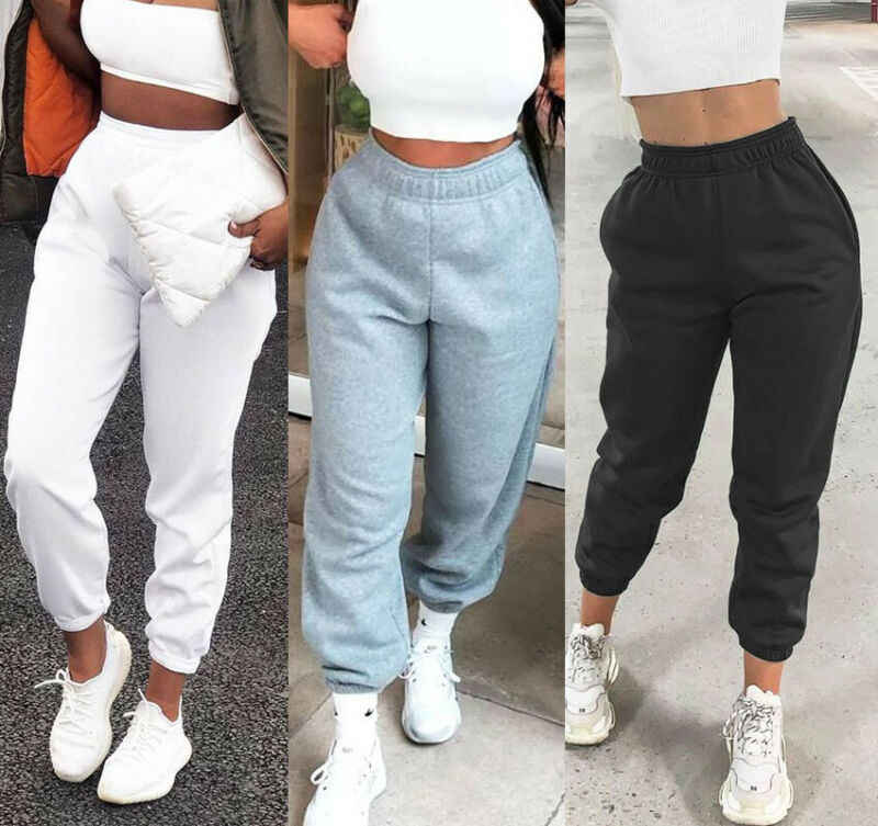 Huyghdfb Womens Cinch Bottom Sweatpants Pockets High Waist Sporty Gym Athletic Fit Jogger Pants Lounge Trousers