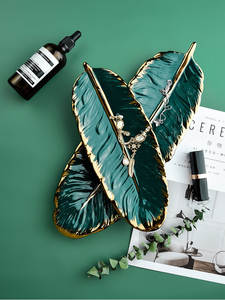 Storage-Tray Sushi-Plate Decorative Feather-Jewelry Leaf Ceramic Luxury Makeup-Brush-Storage