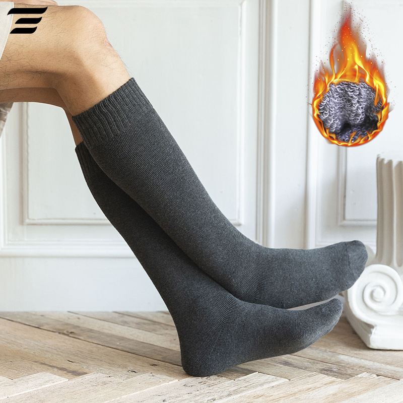 6PCS=3 Pairs Men's Winter Compression Stocking Winter Knee High Long Leg Terry Socks Cotton Thicken Cover Calf Socks Size 38-44