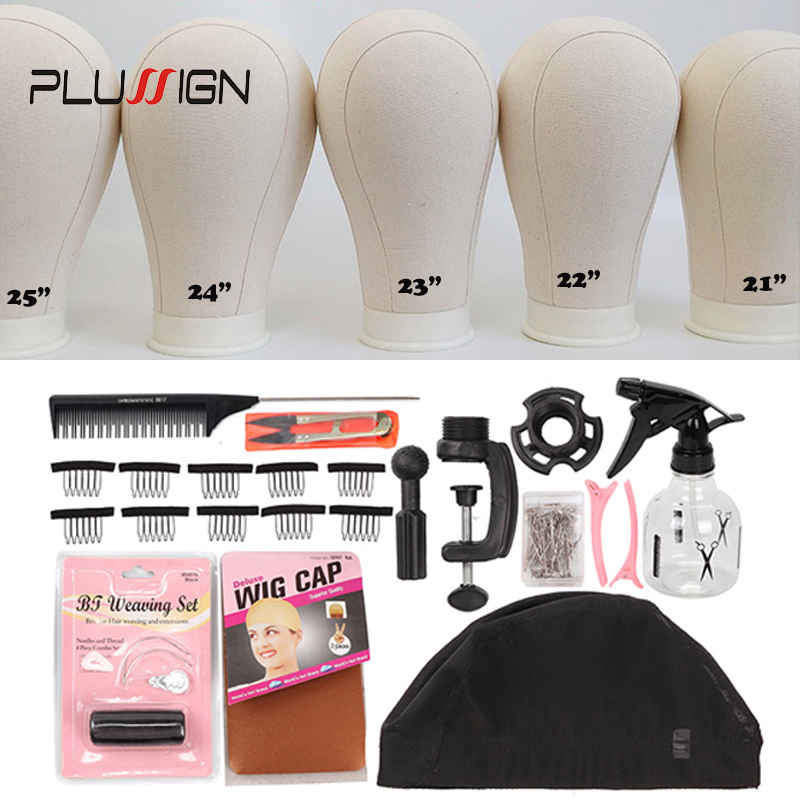Plussign 11 PCS Wig Making Kit Canvas Block Head With Stand Mannequin Head Diy Professional Styling Making Tools Heads Manequin