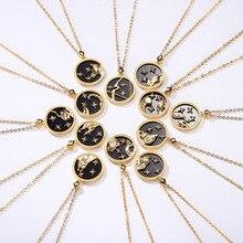 Silvology niebieski piasek kamień 12 konstelacji naszyjnik 925 Sterling Silver elegancki naszyjnik dla kobiet 925 biżuteria na urodziny