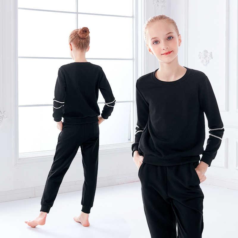 Meninas Ballet Adultos Trajes de Dança Preto Grosso Warm Up Estiramento Desgaste da Dança Ginásio Outfit Ternos de Esportes Para As Crianças
