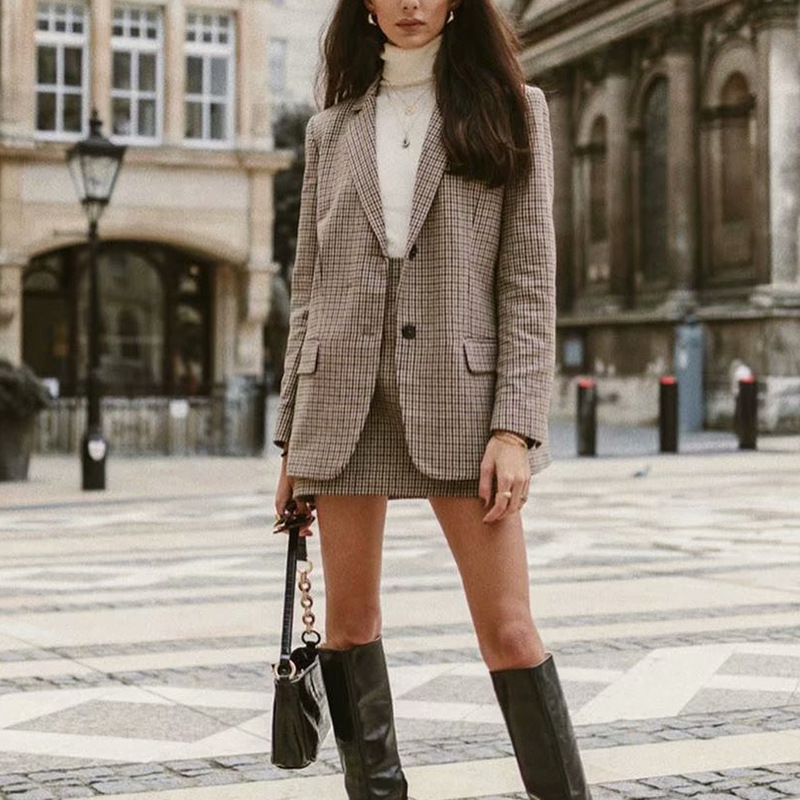 2020 Aachoae Office Ladies Plaid Blazer Long Sleeve Loose Houndstooth Suit Coat Jacket Women Single Breasted Blazers Female Tops