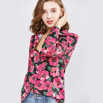 Women Shirts Long Sleeve Casual Blouses Floral Print Shirt Turn Down Collar Elegnat Blouse Ladies Office Tops Chemise Femme Blouses
