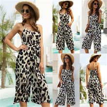 Zomer Jumpsuit Vrouwen Sexy Luipaard Print Riem Mouwloze V-hals Jumpsuit Rompertjes Backless Zip Brede Benen Jumpsuit Turnpakje Overall(China)