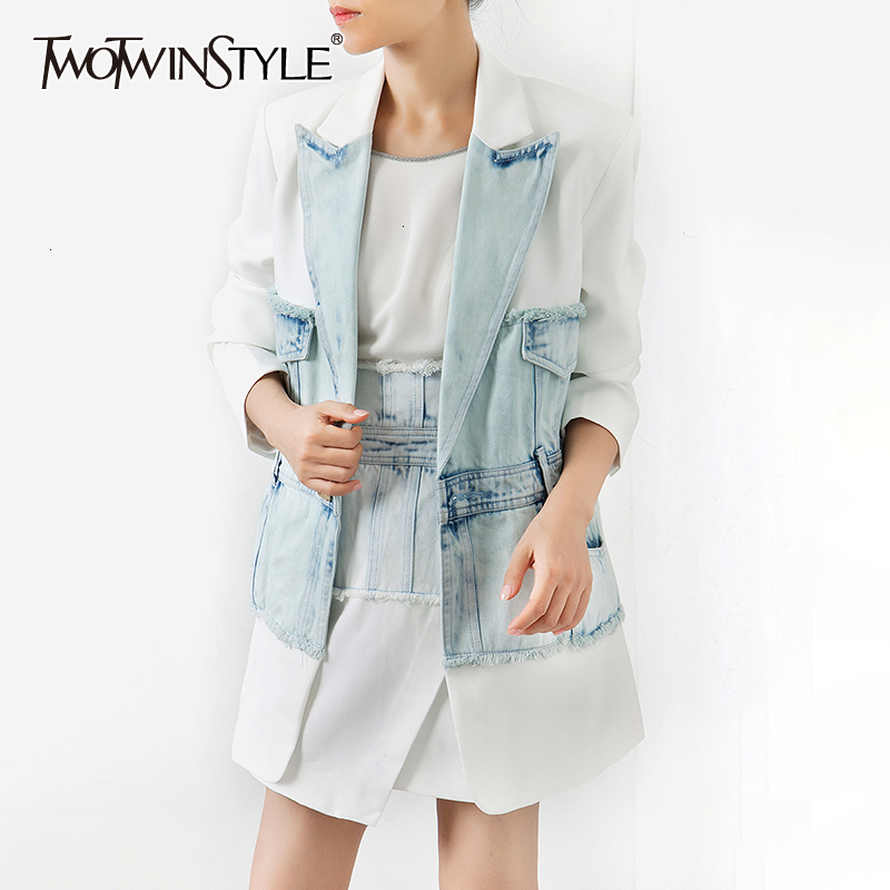 TWOTWINSTYLE Patchwork Denim Women's Blazer Notched Collar Long Sleeve Tunic Hit Color Female Suits 2020 Fashion Autumn Clothing
