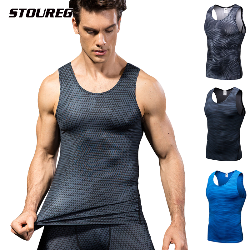 Men's Quick Drying Sports Vest, Male Elastic Tight 3D Printing Training Vest, Running Gym Fitness T-Shirt
