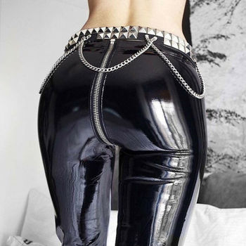 PU Look Leggings Not Pants Not Latex Rubber Fell Women Black&Red Shiny Leather