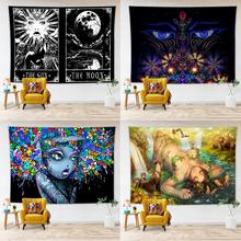 India Mandala Sun Moon Tapestry Wall Hanging Psychedelic Tapestry Wall Carpet Hippie Tapiz Witchcraft Wall Cloth Tapestries mandala black white sun moon tapestry wall hanging wall tapestry witchcraft hippie tapestry wall carpets psychedelic tapestry