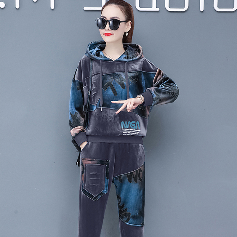Plus Size Velvet Two 2 Piece Set Tracksuit For Women Warm Thick Outfits Hoodies Pant Suit Winter Festival Clothing Matching Sets