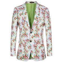 Мужской Повседневный стиль облегающий пиджак с цветочным принтом