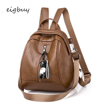 2019 Soft Leather Leisure Time Backpack Woman Packet All-match Tide Both Shoulders Package Pu Both Shoulders Multipurpose Travel фото