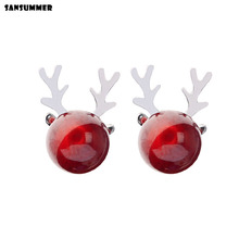Sansummer 2019 New Hot Fashion Red agate stone antler cute delicate S925 silver Bohemia Charm Boho earrings For Women Jewelry цена 2017