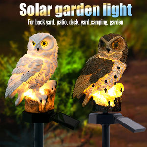 2 Colours Outdoor Garden Sculptures Lamp Owl Shape for Garden Decoration Waterproof Bird Resin Yard Garden Decor Sculptures(China)