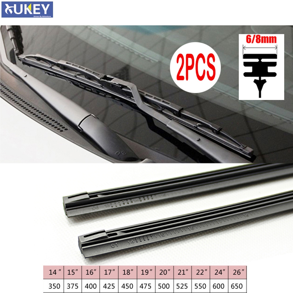 2Pc No Cutting Car Metal Wiper Blade Refill 6mm  14