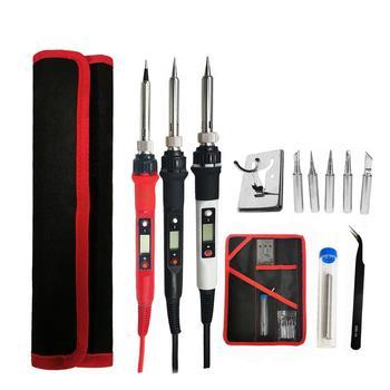 цена на 80W Electric soldering iron  temperature adjustable 220V 110V Welding Solder iron rework station soldering iron kit accessories
