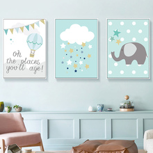 Elephant Hot Air Balloon Canvas Painting Kids Nursery Wall Art Print Nordic Poster Pictures For Bedroom