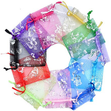 Pouch Organza-Bag Packing Jewelry Wholesale-Price 100pcs 3-Sizes Wedding-Voile Butterfly