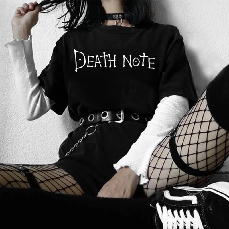 Gothic Death Note Black Oversized T Shirt Aesthetic Harajuku 90s Letter Printed Graphic Tee Short Sleeve Cotton Grunge Tops Wome
