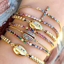 Cross Shell Bracelet Women Gold Color Chain Rainbow Cubic Zirconia Micro Paved Luxury Jewelry Tennis Bracelets Beaded Indian(China)