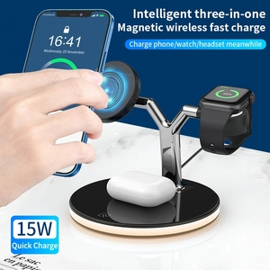 Image 2 - 3 in 1  15W Fast Charging Station Magnetic Wireless Charger for Magsafe iPhone 12 pro Max Chargers for Apple Watch Airpods pro