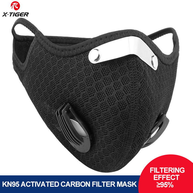 X-Tiger Protective Mask With Activated Carbon KN95 Filters MTB Bike Sport Training Face Mask Anti-Pollution Cycling Mask