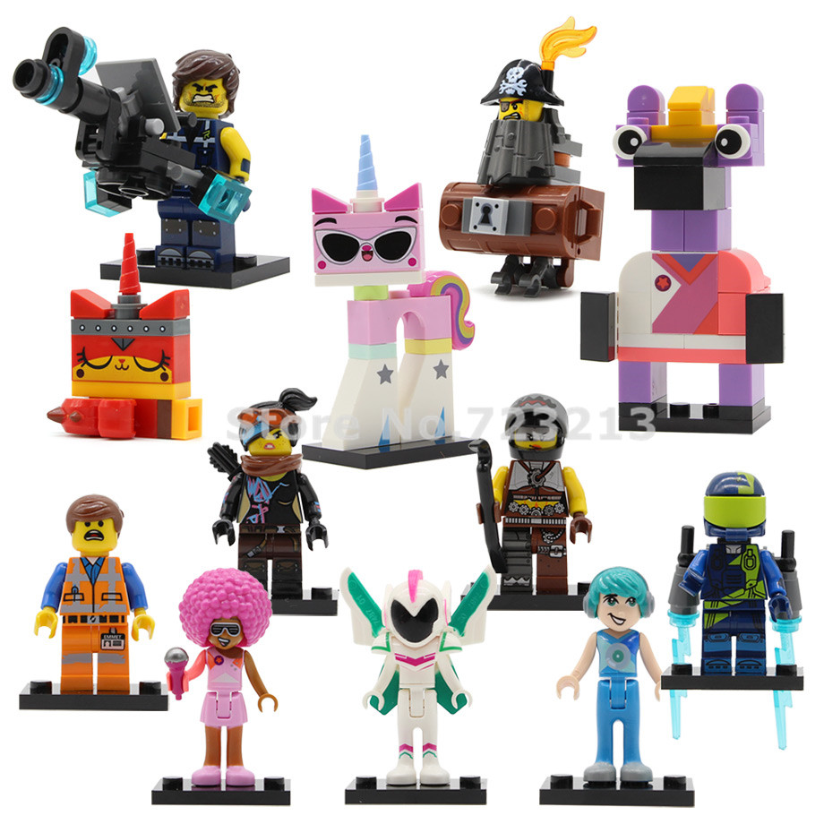 12pcs/lot Movie 2 Figure Lucy Emmet Metalbeard Sweet Mayhem Melody Tempo Disco Kitty Building Blocks Model Bricks Toy Legoing