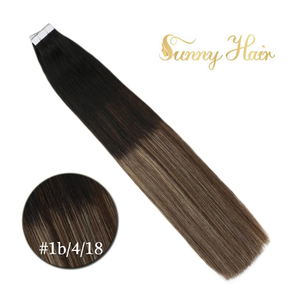 VeSunny Tape In Hair Extensions 100% Real Human Hair Adhesive Tape On Ombre Balayage Natural Black To Brown Mix Blonde #1b/4/18