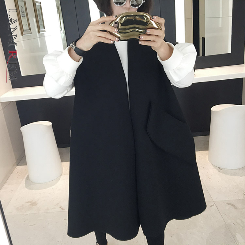 LANMREM 2020 Spring New Fashion Casual Women Jacket Loose Plus Sleeveless Large Pocket Wool Coat TC172