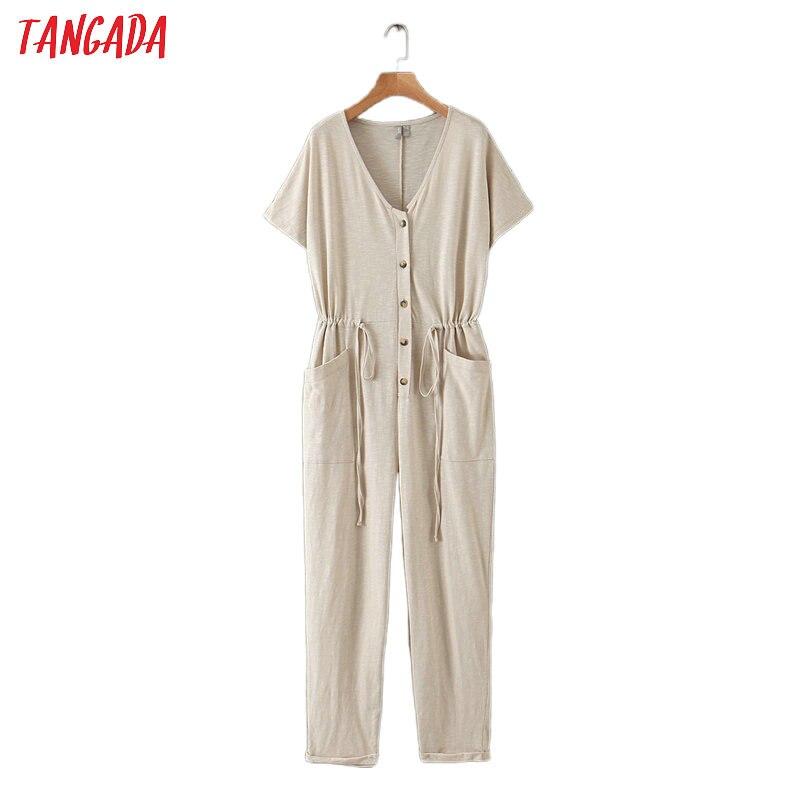 Tangada Women Summer Solid Long Jumpsuit Short Sleeve Buttons Pocket V Neck Female Casual Jumpsuit QB141