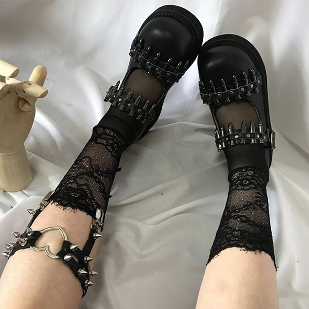 Rosetic Women Shoes Gothic Vintage Female Thin Shoes Black Girl Warhead Rivet Buckle Single Shoes Harajuku Retro Women Shoes