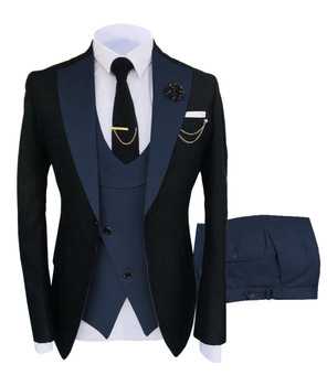 New Costume Slim Fit Men Suits Slim Fit Business Suits Groom Black Tuxedos for Formal Wedding Suits Jacket Pant Vest 3 Pieces 25