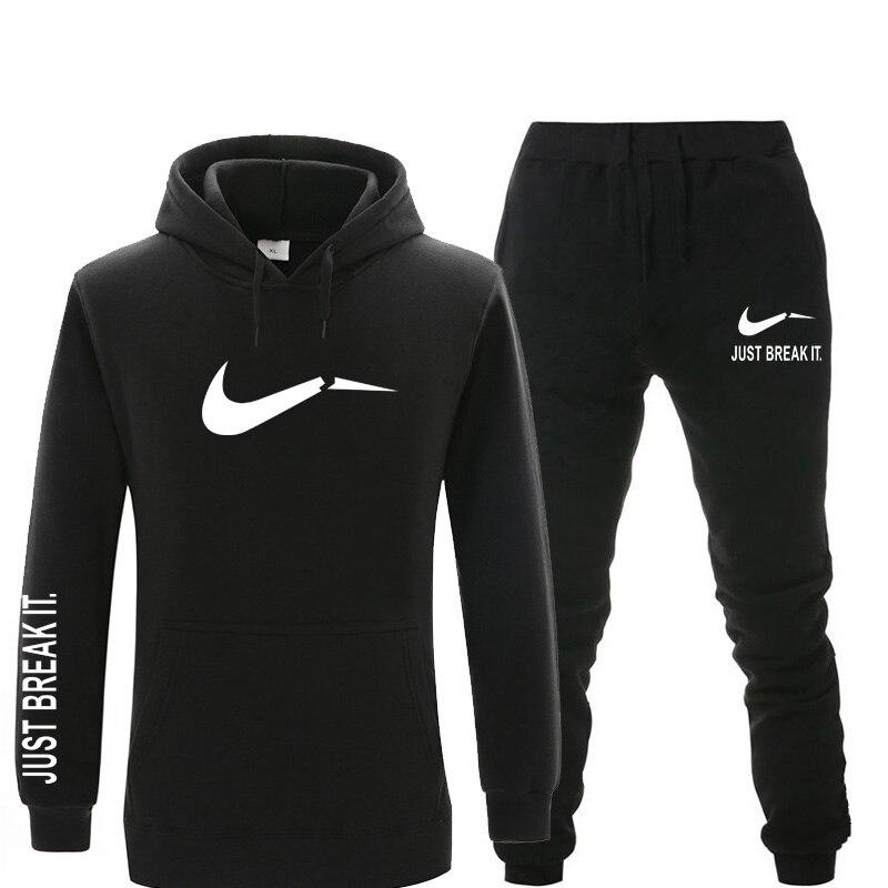 New Men Sets Tracksuit Brand Printed Warm Fleece Hoodies Sets Fashion Hooded Sweatshirts Hoodie+Sweatpants Sportswear Set Winter